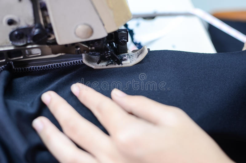 How to sewing fabric stock image