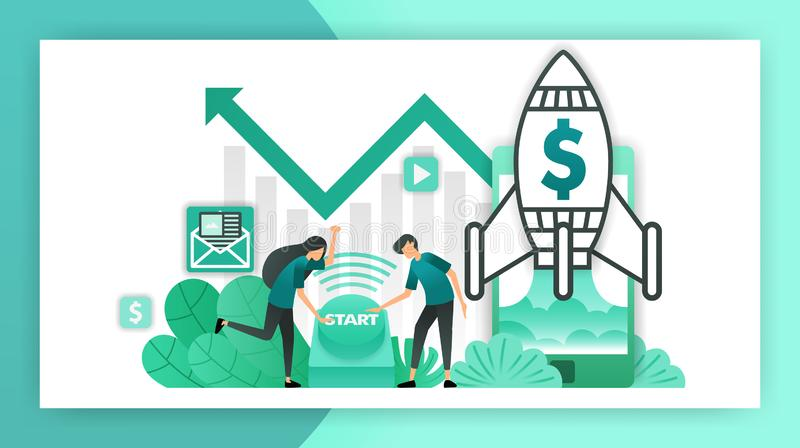 How to start a business. entrepreneurs and investors who push the button to start a business. startup company with rocket launchin stock illustration
