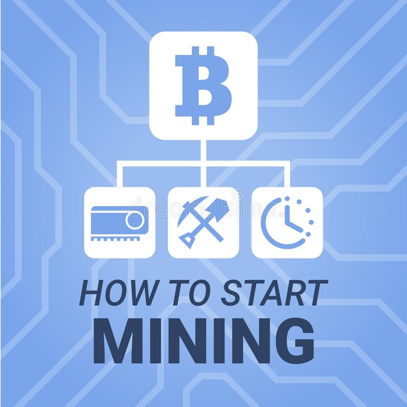 How to start mining cryptocurrency image with title on chipset background. Simply and style illustration for blog or website. vector illustration