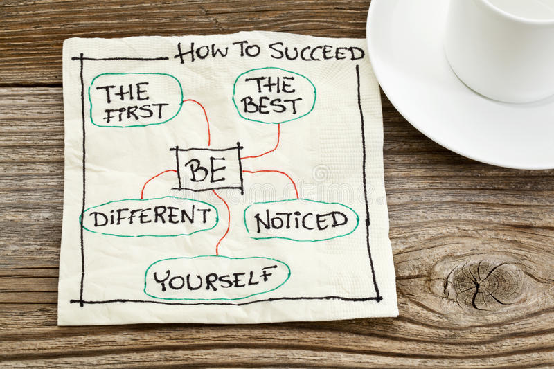 How to succeed advice. How to succeed concept on a napkin - be the first, the best, different, yourself, noticed stock photos