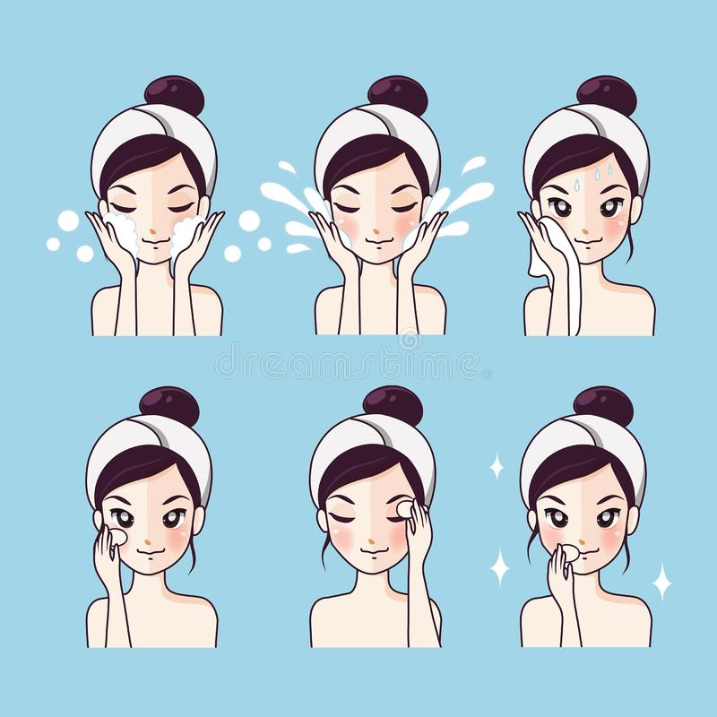 How to wash Step facial cleansing. Step facial cleansing, facial acne treatment, face healthy and look younger stock illustration