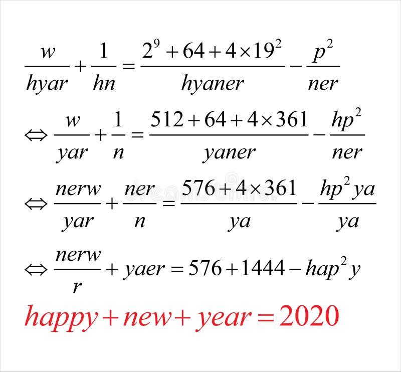 How to wish happy new year 2020 using mathematics. Problem royalty free stock photos