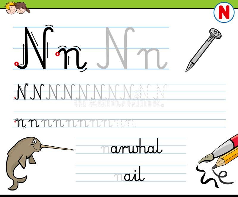 How To Write Letter N Worksheet For Kids Stock Vector Illustration