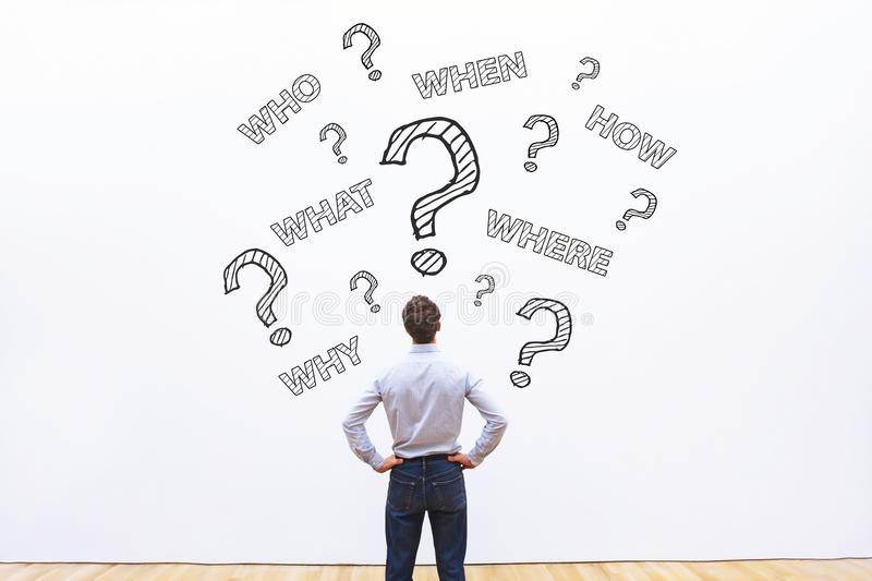 How where what when who questions stock photo