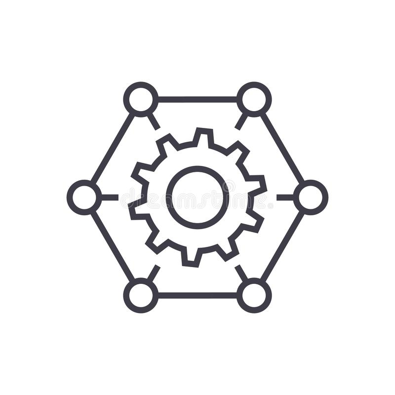 How it works,gears, settings vector line icon, sign, illustration on background, editable strokes stock illustration