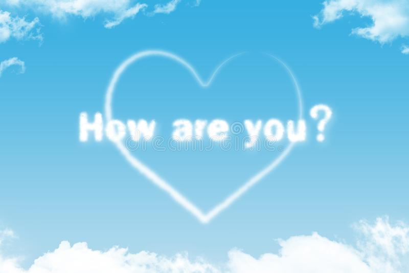How are you - cloud word. With heart on blue sky royalty free illustration