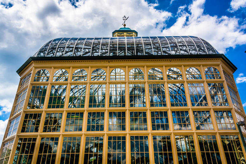 The Howard Peters Rawlings Conservatory in Druid Hill Park, Baltimore, Maryland. royalty free stock images