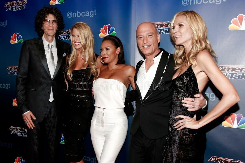 Howard Stern, Beth Ostrosky, mel B, Howie Mandel, Heidi Klum immagine stock