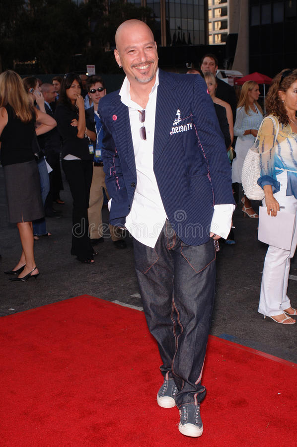 Howie Mandel. L, star of TV series 'Hidden Howie: The Private Life of a Public Nuisance' at party in Los Angeles to launch the new season on NBC TV. July 25 stock image