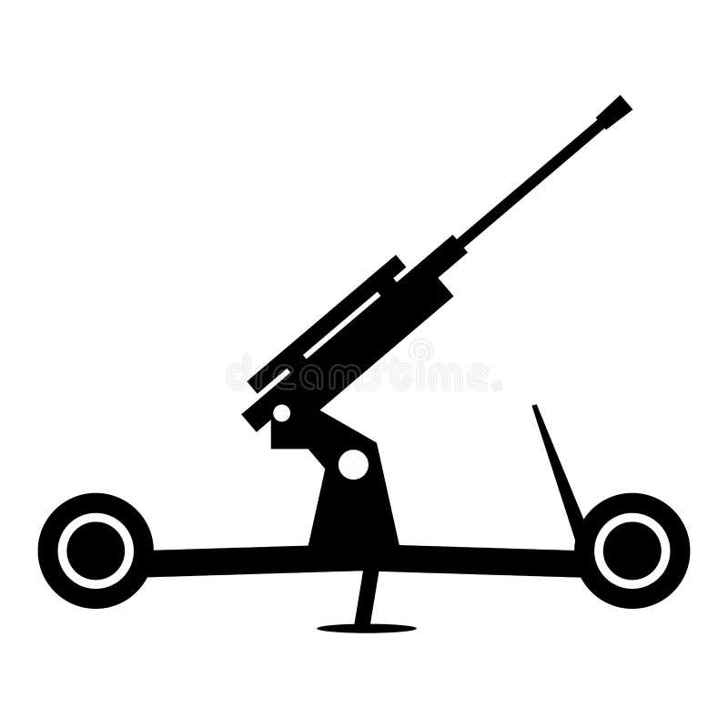 Howitzer απλό εικονίδιο πυροβολικού ελεύθερη απεικόνιση δικαιώματος