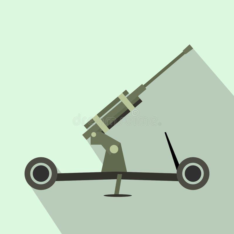 Howitzer επίπεδο εικονίδιο πυροβολικού διανυσματική απεικόνιση