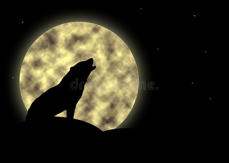 Howling at the moon. Silhouette of lonely wolf howling at the moon stock illustration