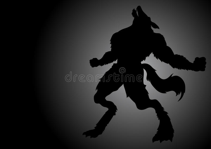 Howling Werewolf In The Dark. Stock vector of a werewolf howling in the dark night royalty free illustration