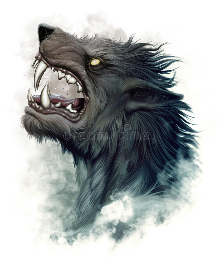 Howling werewolf. Realistic portrait of howling werewolf on the white background vector illustration