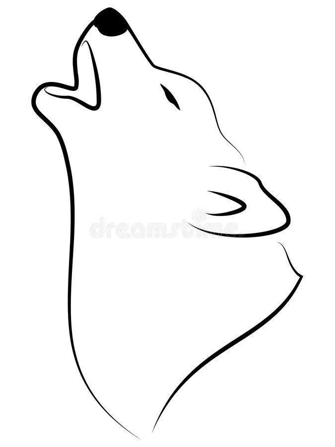 Howling Wolf. Stylized illustration of wolf howling vector illustration