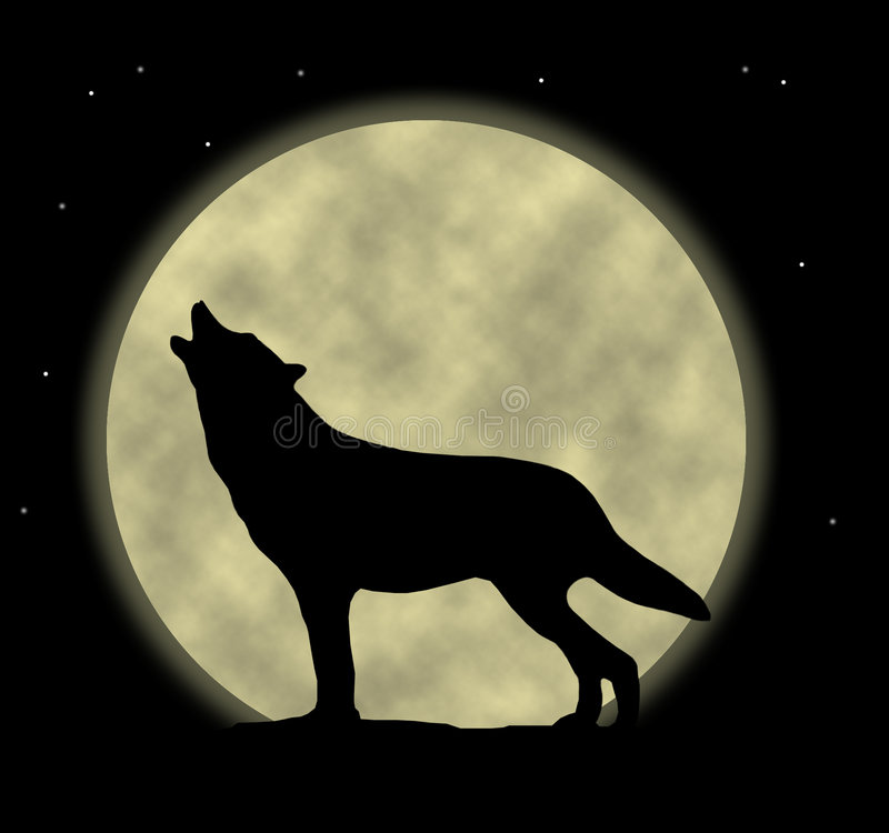 Howling Wolf. An illustration of a wolf howling at the moon