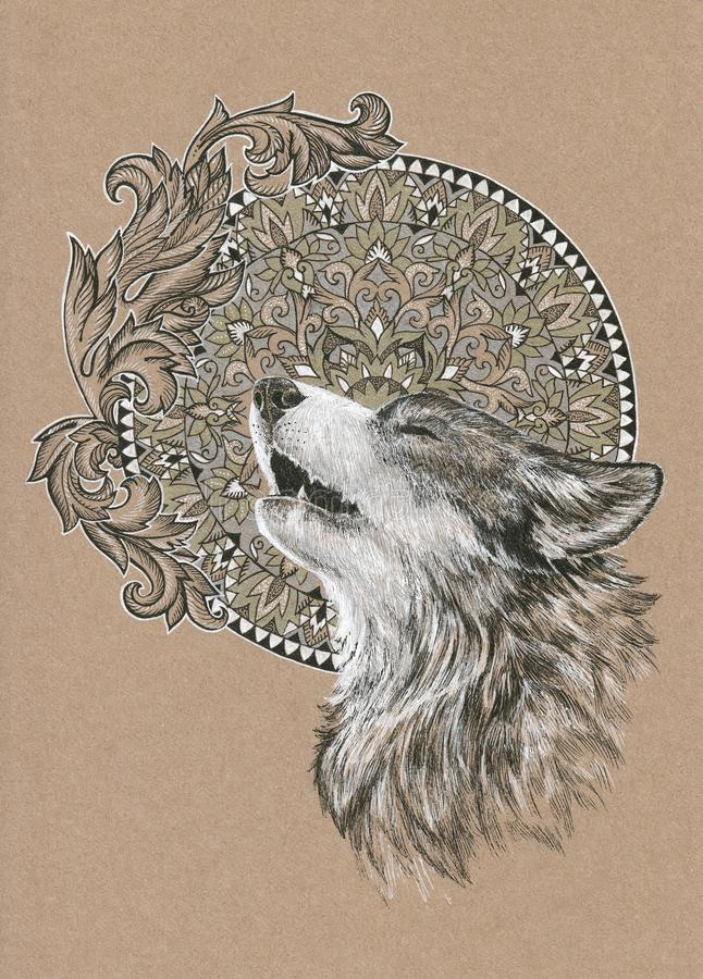 Howling wolf, dog on the background of the mandala. And floral ornament vector illustration