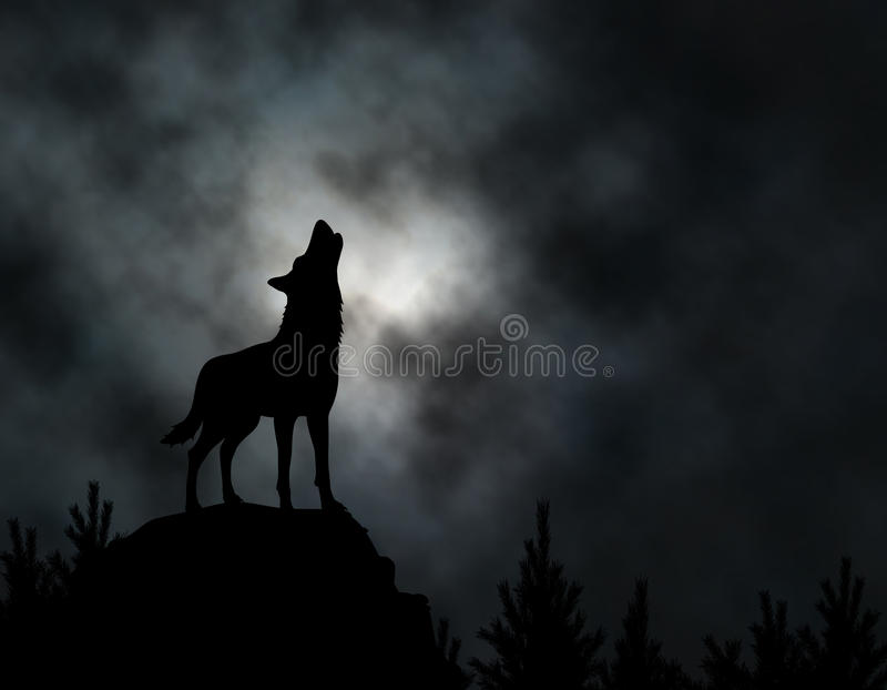 Howling wolf. Editable silhouette of a howling wolf with moonlit clouds background made using a gradient mesh vector illustration