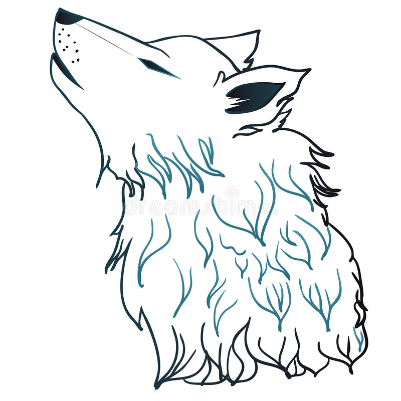 Howling Wolf Head. Stylized cartoon gray wolf head, howling wolf vector illustration