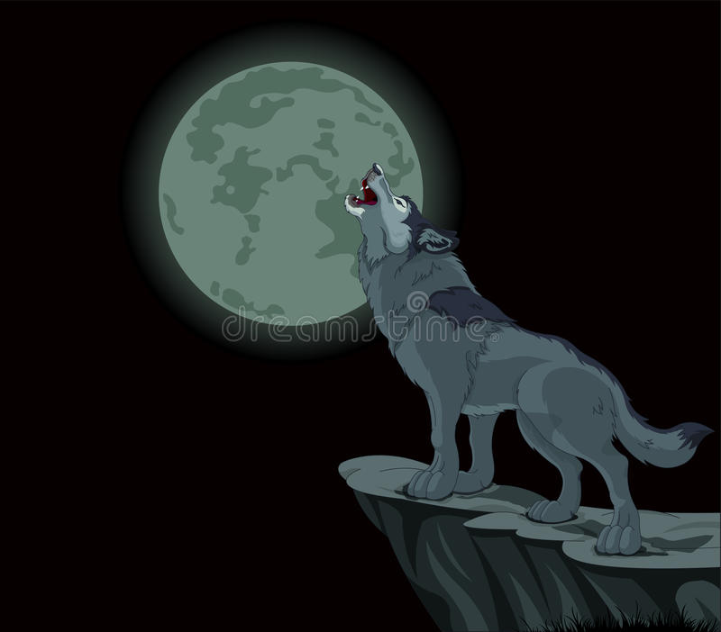 Howling wolf. Illustration of howling wolf at the full moon vector illustration