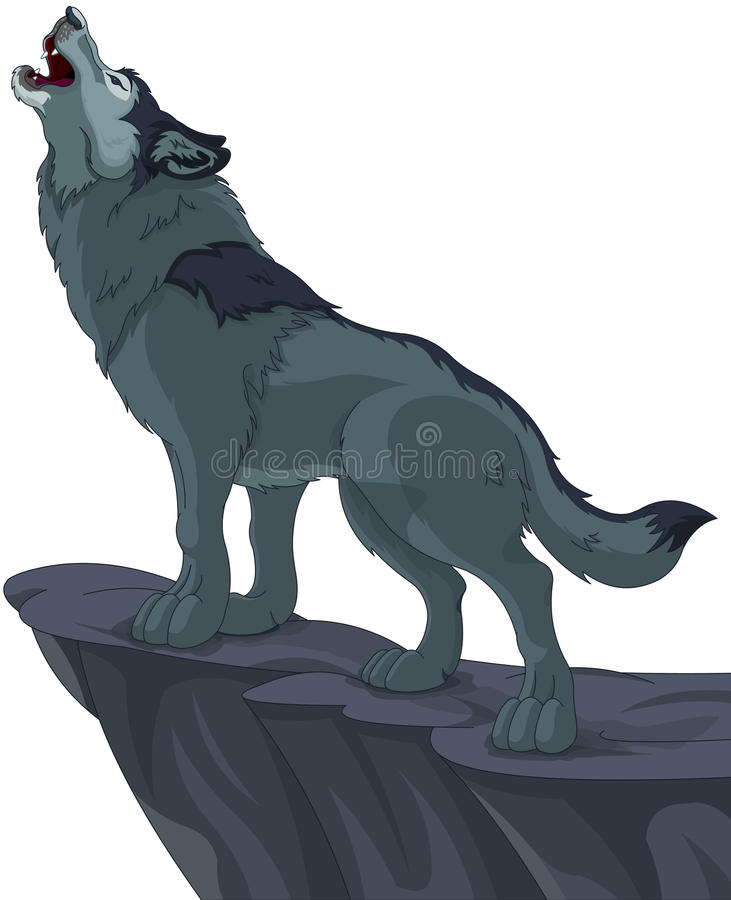 Howling wolf. Illustration of howling wolf that stands on cliff stock illustration