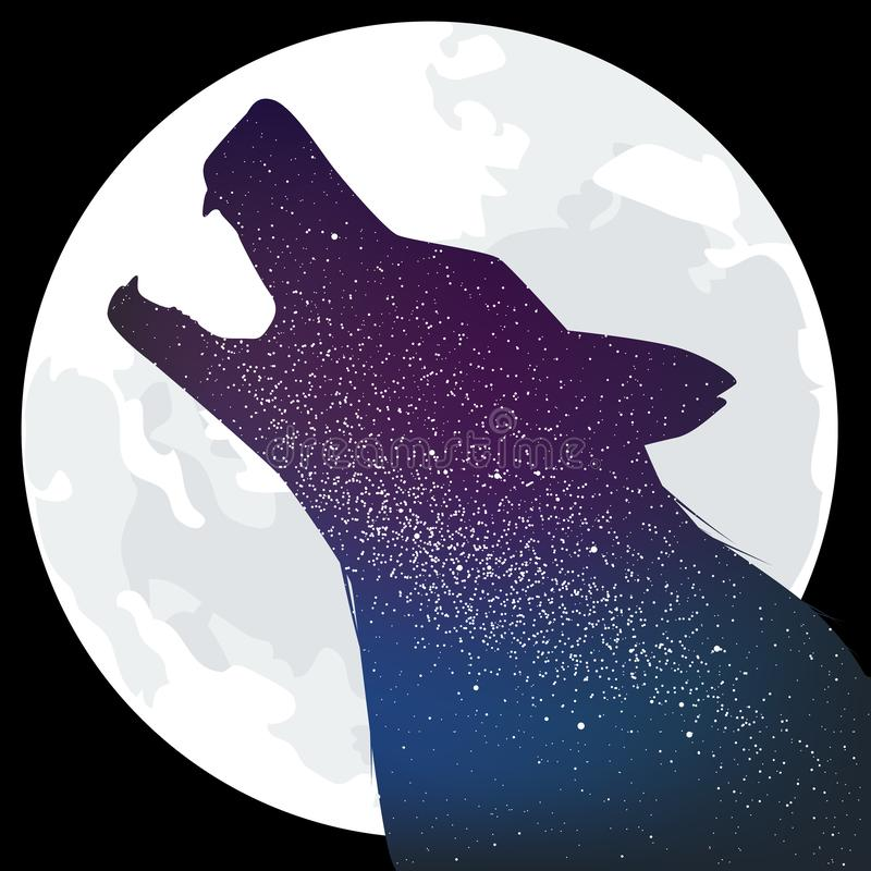 howling wolf isolated moon interior galaxy vector illustration 154498303