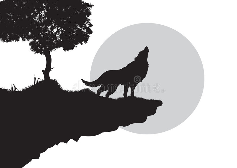 Howling wolf silhouette. Black silhouette of howling wolf on edge of cliff, isolated on white background with copy space vector illustration