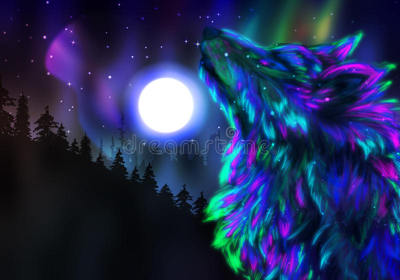 Howling Wolf Spirit. Colorful northern landscape with howling wolf spirit and aurora borealis royalty free illustration