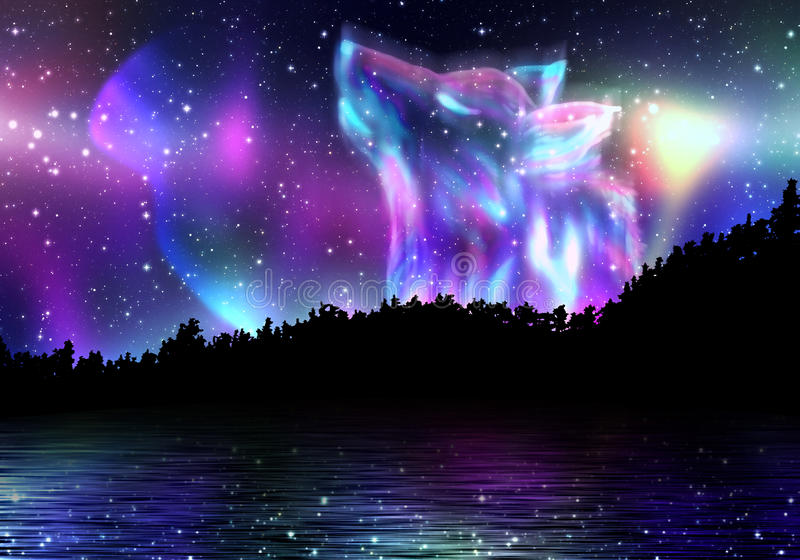 Howling Wolf Spirit. Colorful northern landscape with howling wolf spirit and aurora borealis stock illustration