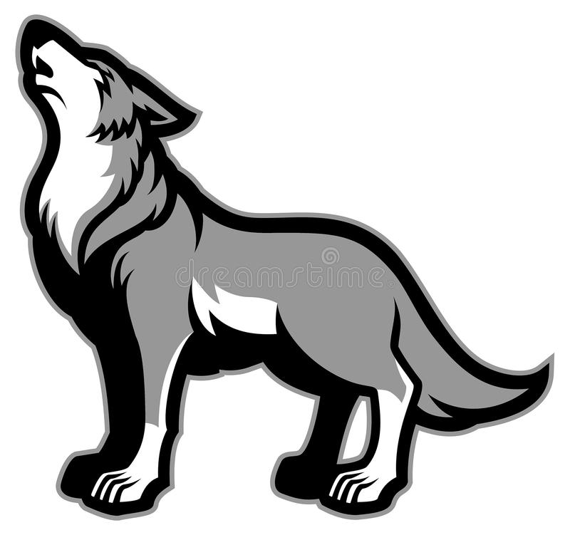 Howling wolf. Vector of howling wolf mascot stock illustration