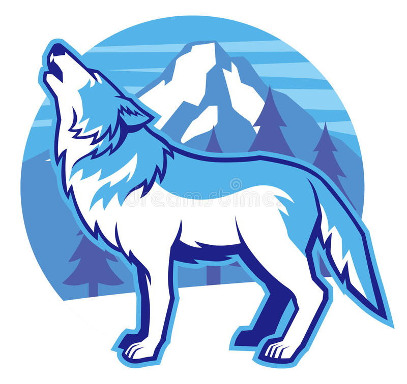 Howling wolf. Vector of howling wolf with mountain background vector illustration