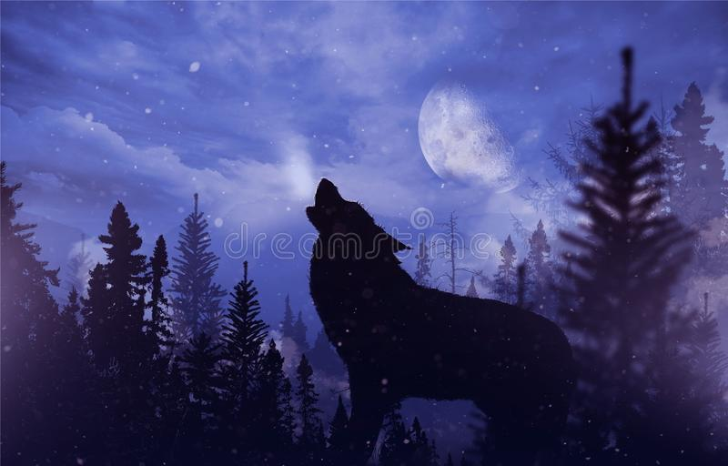 Howling Wolf in Wilderness. Mountain Landscape with Falling Snow, Moon and the Howling Alpha Wolf Illustration royalty free illustration