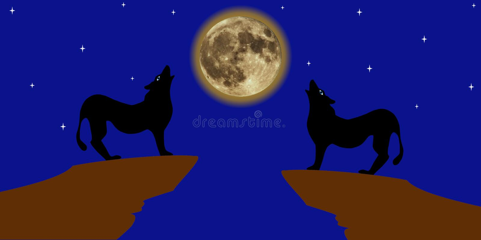 Howling wolves. View of a pair of wolves at the edge of a cliff moaning at the full shining moon against the background of cloudless night starry sky. It can stock illustration