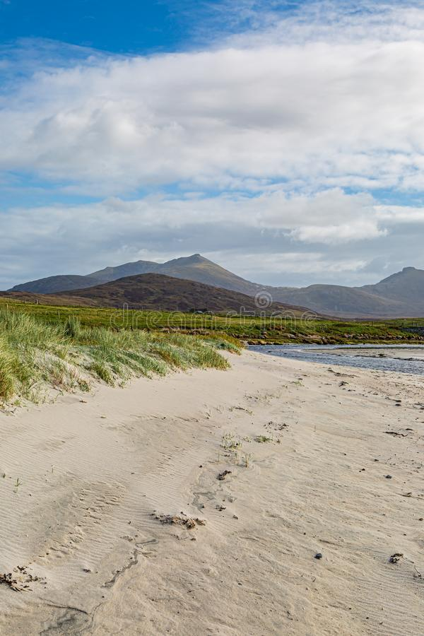 Howmore Beach, South Uist. Howmore beach on the Hebridean Island of South Uist, on a sunny late summers day royalty free stock images