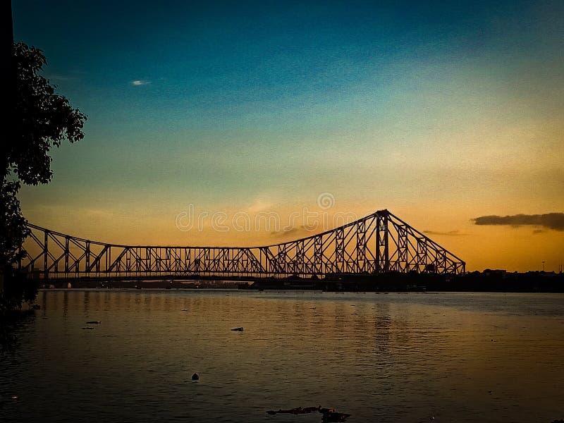 Howrah-Brücke, kolkata, Indien-Abendklick lizenzfreies stockfoto