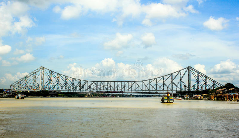 The Howrah Bridge. This is a Photograph of Howrah Bridge, located in India, West Bengal, Kolkata, on the hoogly river royalty free stock image
