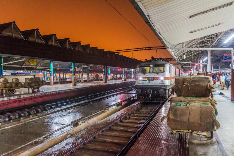 HOWRAH, INDIA - OCTOBER 27, 2016: Early morning view of Howrah Junction railway station in Indi. A royalty free stock image