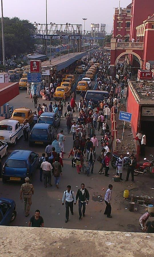Howrah-järnvägsstationen, Kolkata, Indien arkivfoton