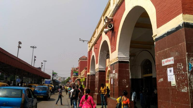 Howrah Railway Station at Kolkata, India. Usual day at one of the largest railway station of India which is located in West Bengal`s capital city Kolkata royalty free stock photo