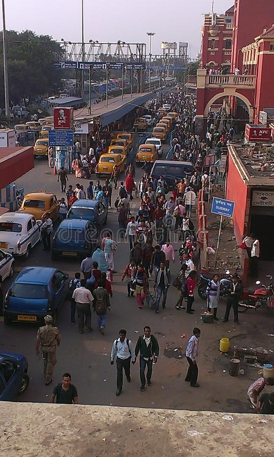 Howrah railway station, Kolkata, India. The Howrah railway station is one of the most busiest stations in India. Here is a view outside of the station stock photos