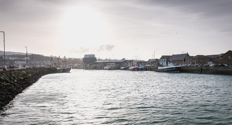 View of the fishing port of Howth, Ireland royalty free stock image