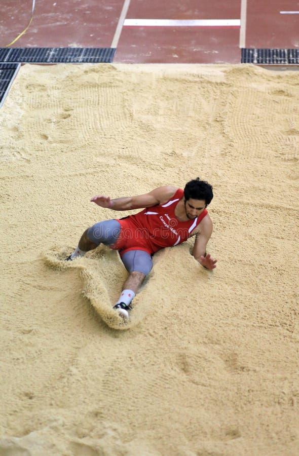 Hoyo de arena del salto de longitud foto de archivo