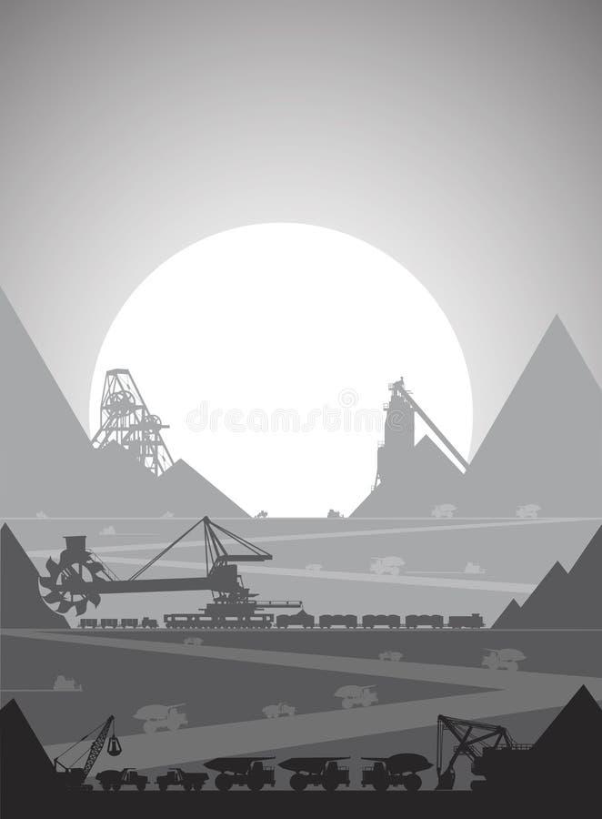 Hoyo de la explotación minera para la extracción del mineral stock de ilustración