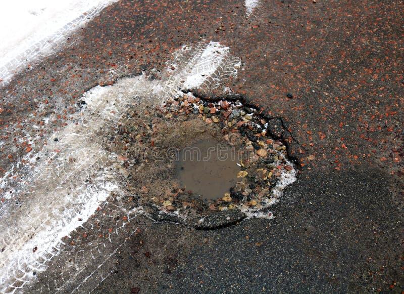 Hoyo del asfalto llenado de agua en invierno imágenes de archivo libres de regalías