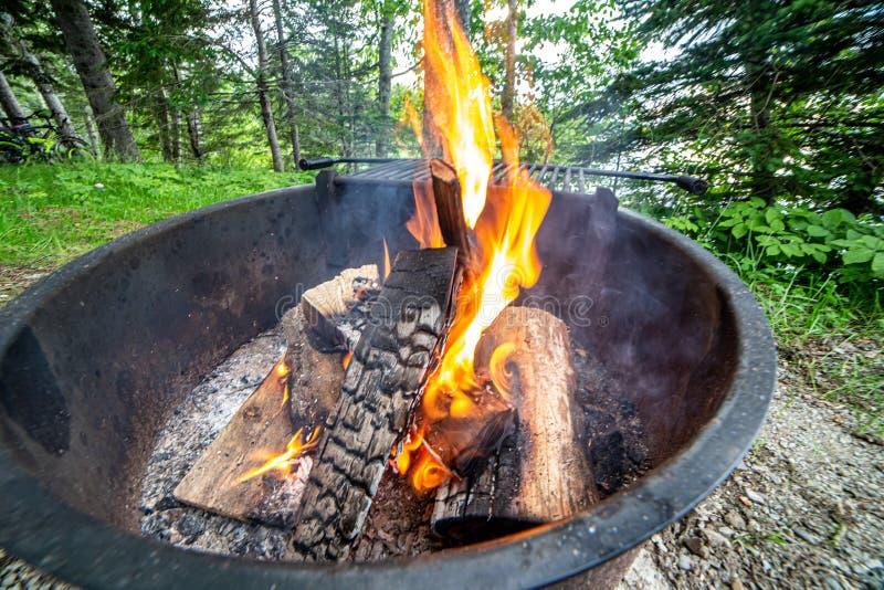 Hoyo del fuego con los registros y las llamas que se alzan imagen de archivo libre de regalías