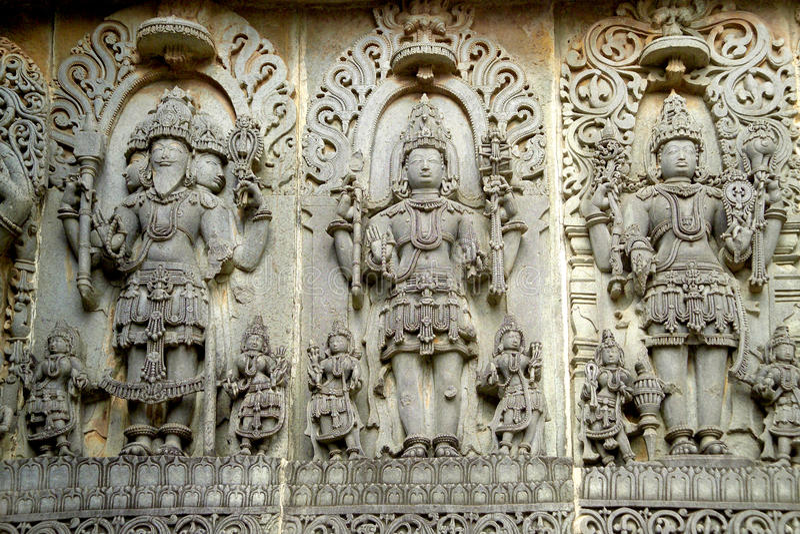 Hoysaleshwara Hindu temple , Halebid royalty free stock photography