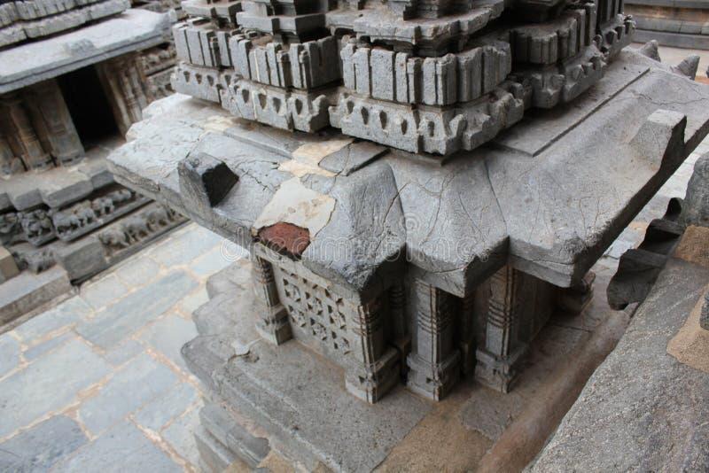 Hoysaleswara struktury świątynie uszkadzać grobowiec zamieniać cegły zdjęcia stock