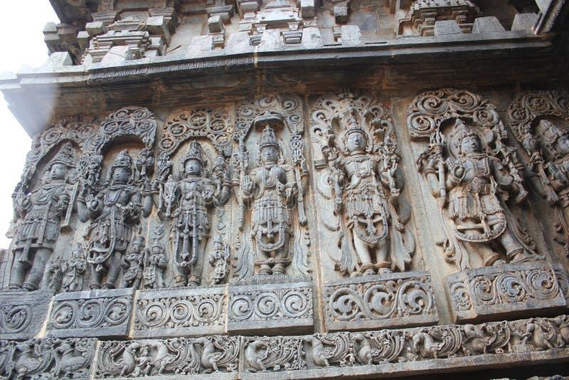 Hoysaleswara Temple Wall Carving of Various Hindu deities royalty free stock photos