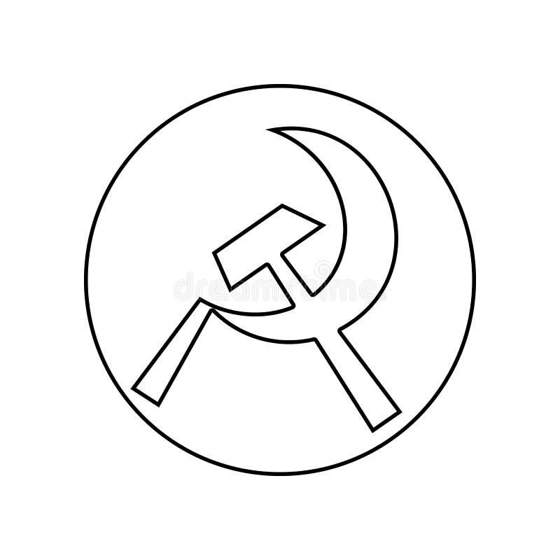 hoz y martillo en un icono del c?rculo Elemento del capitalismo del comunismo para el concepto y el icono m?viles de los apps de  ilustración del vector