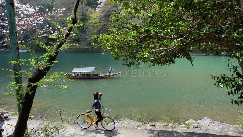 Hozugawa River, near Arashiyama, Kyoto, Japan. Hozugawa River Cruises (保津川下り, Hozugawa Kudari) are sightseeing boat rides down the royalty free stock images